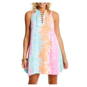LAGACI Aqua Pink Tie Dye Sleeveless Tank Dress NWT
